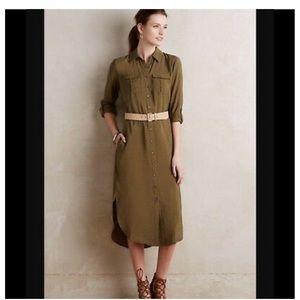 Anthropologie Maeve olive button-down midi dress